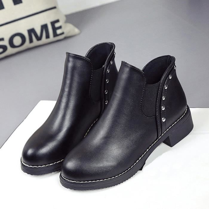 Bottines Femmes Toe Chaussures Plates Rivets En Ronde Cuir Bottes Martain Oppapps900 EYvqdxwaY