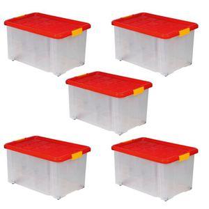 BAC DE RANGEMENT OUTILS Lot de 5 Boîtes de rangement plastique sur roulett