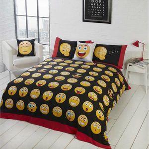 Housse de Couette Smiley Parure de lit 100/% Coton Taie doreiller