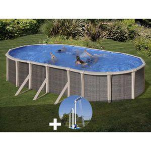 PISCINE Kit piscine acier et résine Gré Fusion ovale 7,80