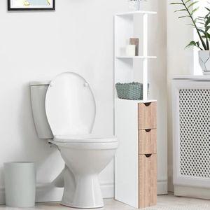 COLONNE - ARMOIRE WC Meuble wc étagère bois 3 portes