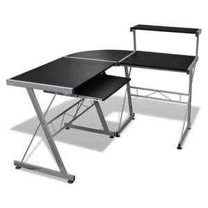 BUREAU  Grande table de bureau noire pour ordinateur,Burea