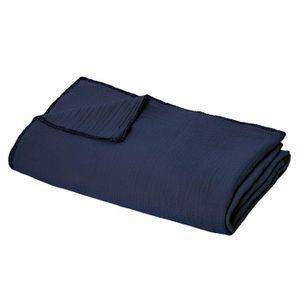 JETÉE DE LIT - BOUTIS Jeté de lit Bleu Foncé en coton - 130 x 220 cm