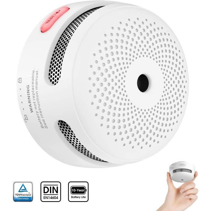 Mini détecteur d'incendie avec 10 Ans d'autonomie, détecteur de fumée certifié TÜV et EN14604, détecteur d'incendie avec capteur pho