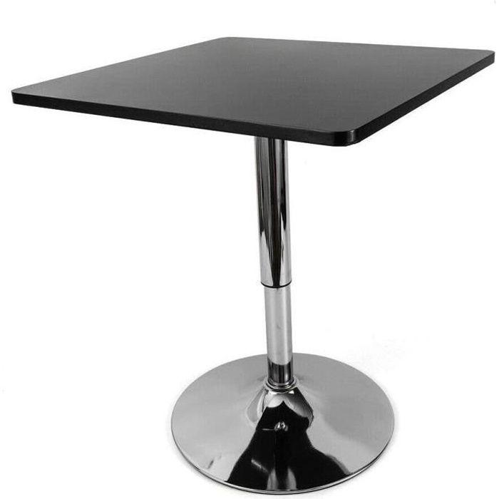 Table de bistrot en MDF et acier inoxydable Table de rangement Noir Hauteur réglable Table de bureau carrée
