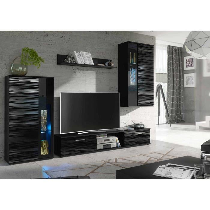 Ensemble meuble tv et de salon design laqué - NOIR