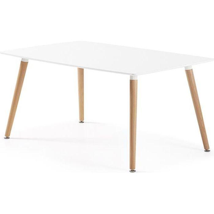 Table à manger rectangulaire design blanche en bois laqué - Brevik