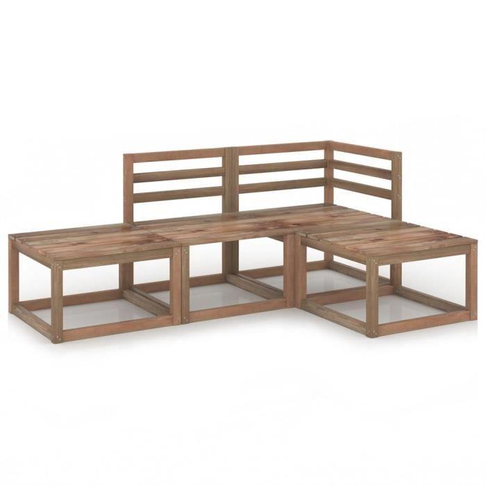 STAR®8327 BEST Salon de jardin - Ensemble de canapé fauteuil d'extérieur 4 pcs Marron Bois de pin imprégné