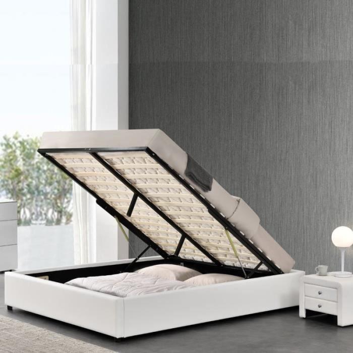 Sommier coffre de rangement Room - Blanc - 180x200