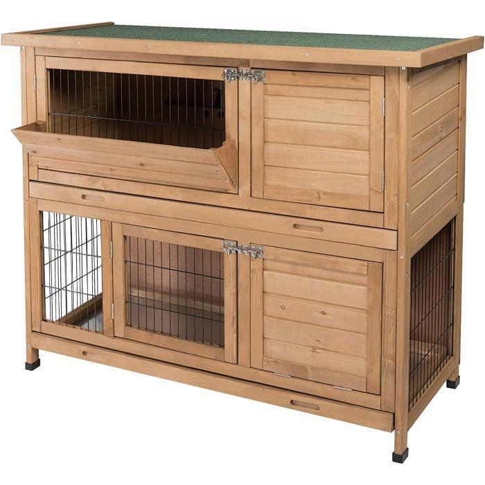 EUGAD Clapier à Lapins Cage à Lapins en Bois Massif,Cage pour Petit Animal,120x50x100,5cm,Brun Clair