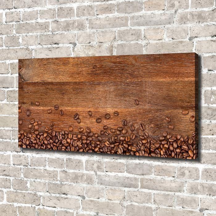 Tulup 140x70 cm art mural - Image sur toile:- Nourriture boissons - Grains De Café - Brun Noir