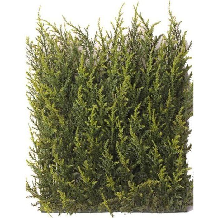 artplants Lot 3 x Plaque de cyprès artificielle NEOH, anti-uv, vert, 25x25cm - 3 pcs - Haie artificielle - Brise vue artificiel