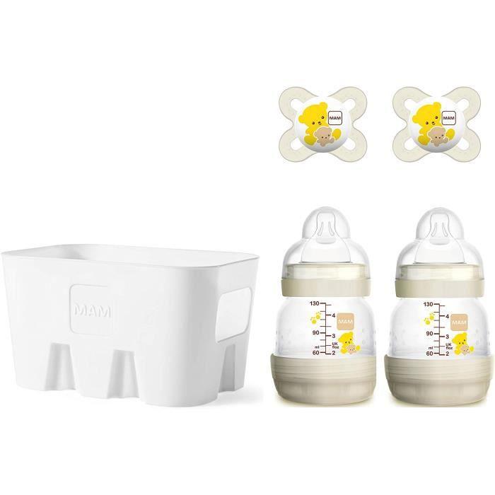MAM Easy Start Ensemble de biberons anti-coliques avec 2 biberons anti-coliques (2 x 130 ml), 2 tétines MAM Start (0-2 mois) et pani