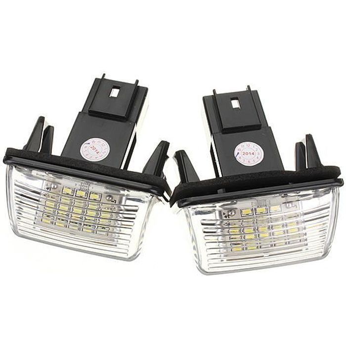 2 x LED Feux plaque d'immatriculation eclairage pour Peugeot 206 207 308 407 306 Citroen