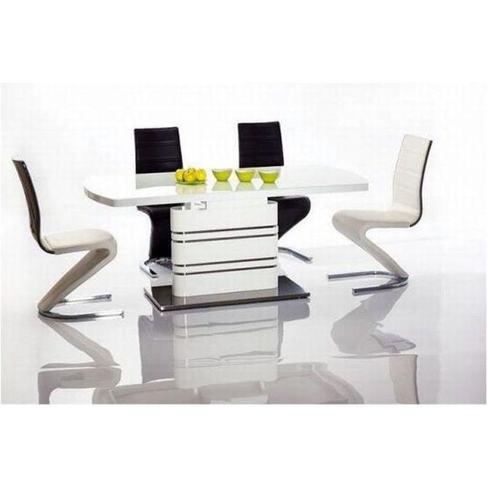 GUCCA - Table moderne avec plateau extensible - 140x85x76 cm - Plateau en bois MDF + verre trempé - Salle à manger - Blanc