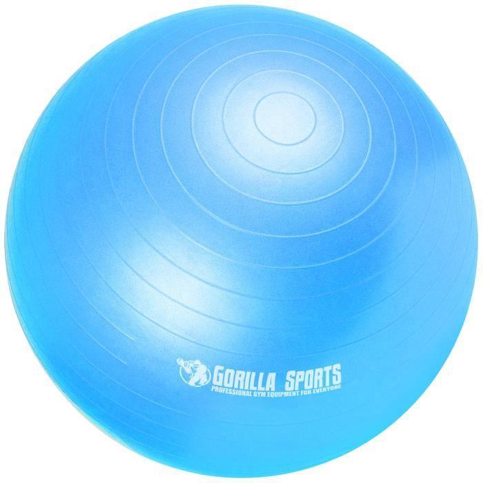 Ballon de gymnastique de couleur bleu mat - Taille : 75 cm