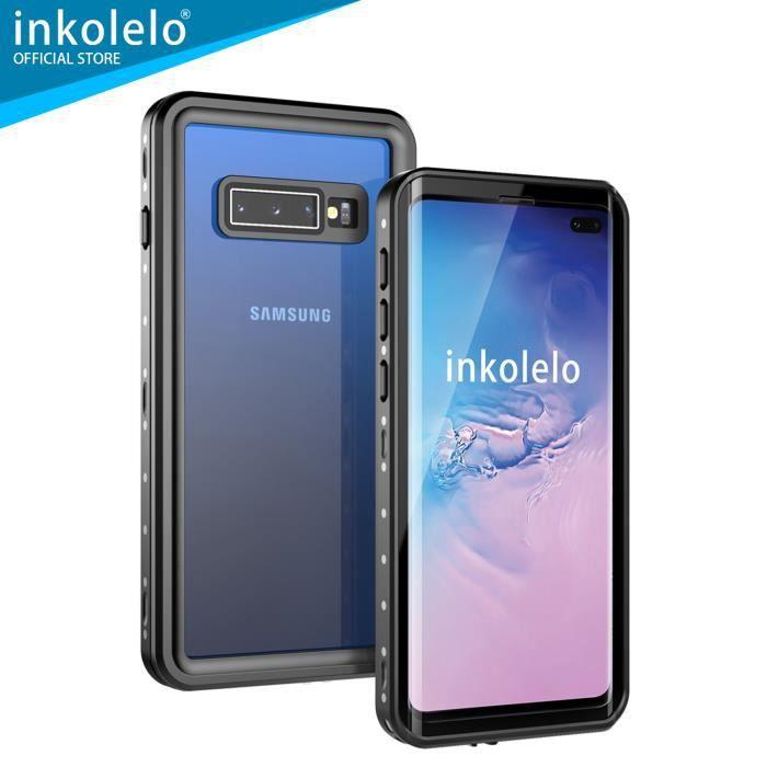 inkolelo Coque Samsung S10+ / S10 Plus Étanche, 360 Full Body Protection [IP68 Imperméable] [Capteur d'empreintes Digitales], Noir