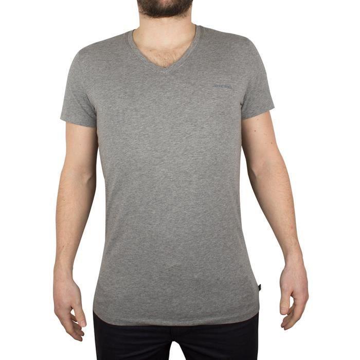Diesel Homme V-Neck T-shirt de logo Marled, Gris