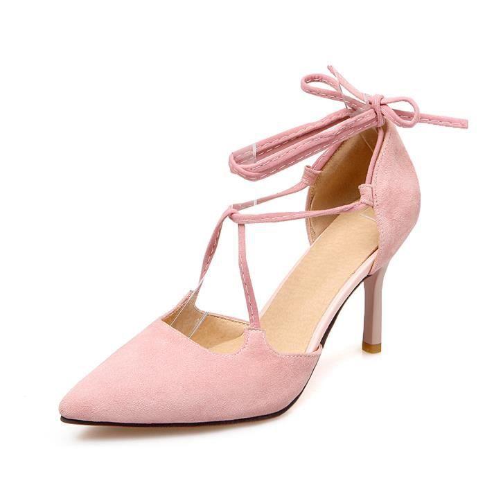 Oaleen Escarpins Pointu Femme Talons Haut Sexy Daim Lanières Chaussures Eté Soirée Rose 43