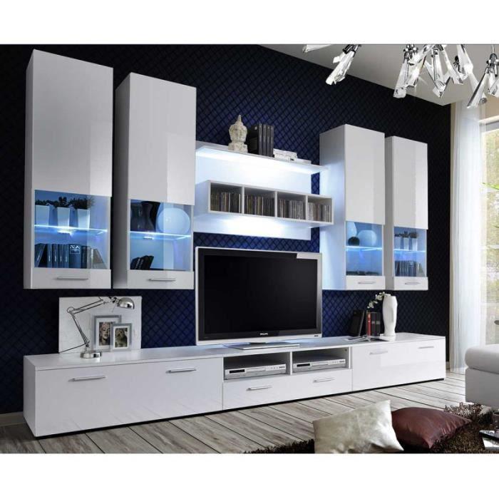 Meuble Tv Mural Design -dorade- 300cm Blanc - Paris Prix