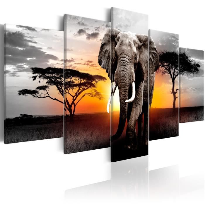 Tableau Elephant at Sunset - taille:200 x 100 cm