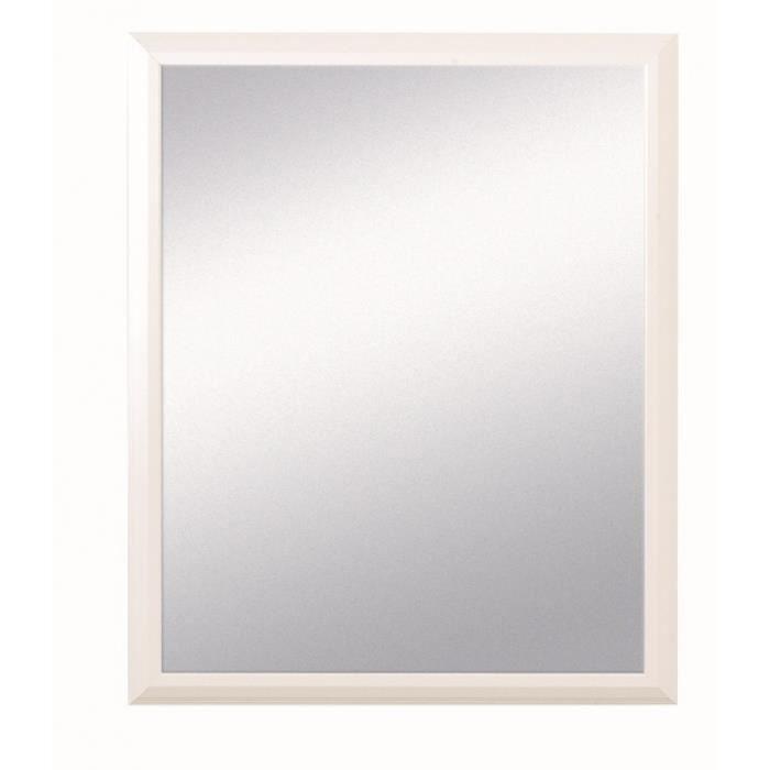 Pradel - Miroir Décoratif - Encadrement Bois Blanc - 55 cm x 45 cm (HxL) Blanc Vernis