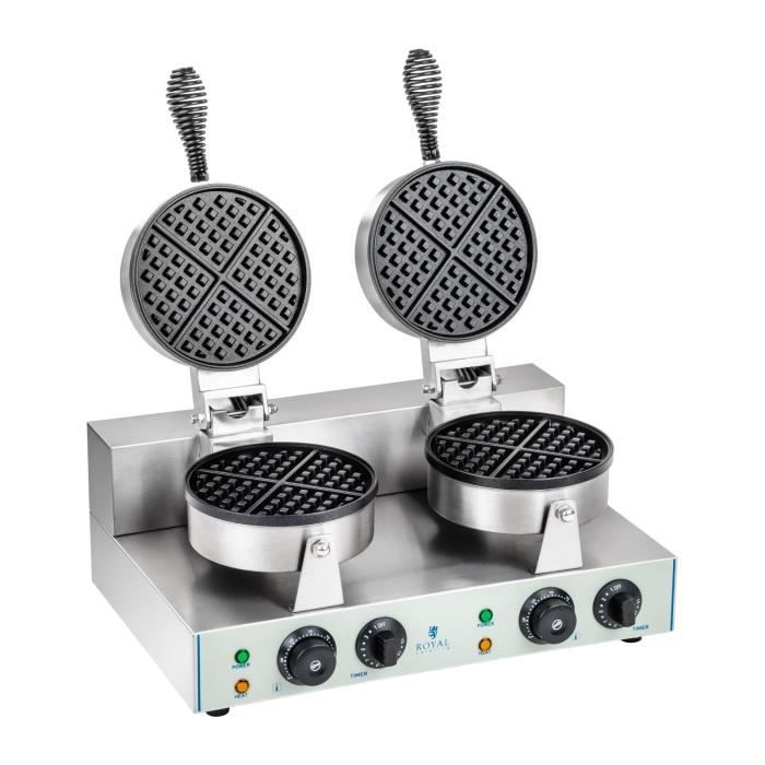 Gaufrier électrique rond double professionnel Inox 2600W Plaque Téflon 43x50x56cm 2x1300W Minuterie Royal Catering RCWM-2600-R