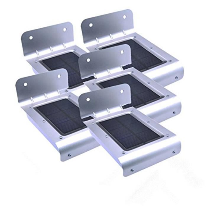 5 PCS Eclairage Solaire Extérieur 16 LED Panneau solaire Lumière Détecteur de Mouvement éclairage extérieur balcon à énergie solaire