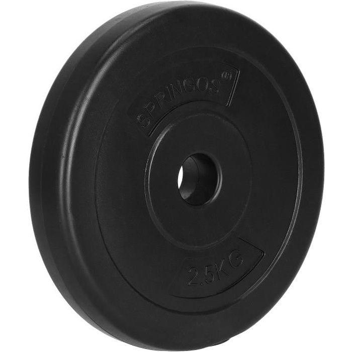 SPRINGOS® Disque 2,5 kg - noir, haltère, poids, musculation