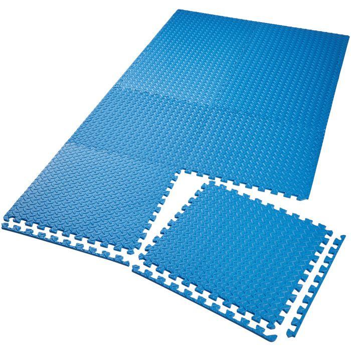 TECTAKE Tapis de Sol de Gym Sport avec 8 Dalles de Protection en Mousse 61 cm x 61 cm Bleu