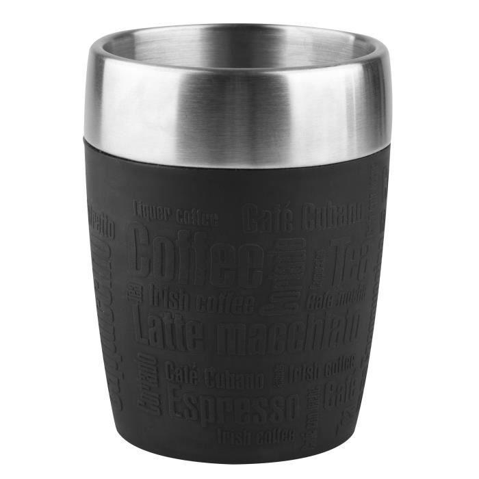 TEFAL - Mug Isotherme Travel Cup - 0.2 L - Inox & Noir - K3081314