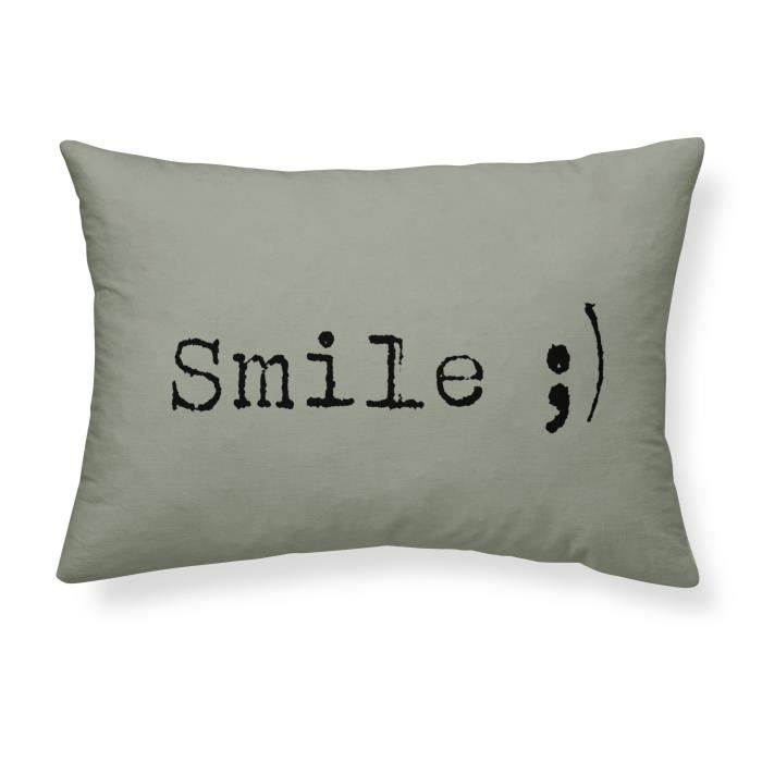 TODAY Coussin coton lavé Smile - 30 x 70 cm - Vert kaki TODAY