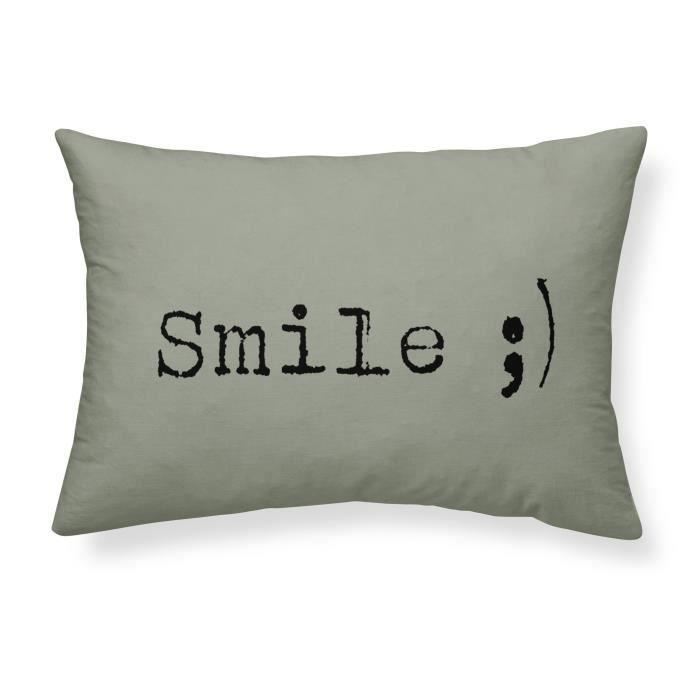 TODAY Coussin coton lavé Smile - 30 x 70 cm - Vert kaki