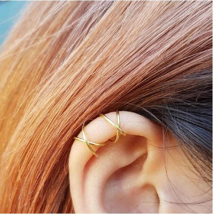 15 To 30 mm 2 mm Non Percée Clip Sur Boucles d/'oreilles Créoles Véritable 14k Or Rose