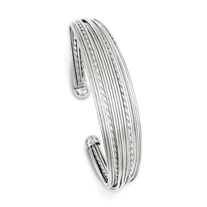 Argent Sterling 14 mm arrondi Cuff Bracelet Fancy