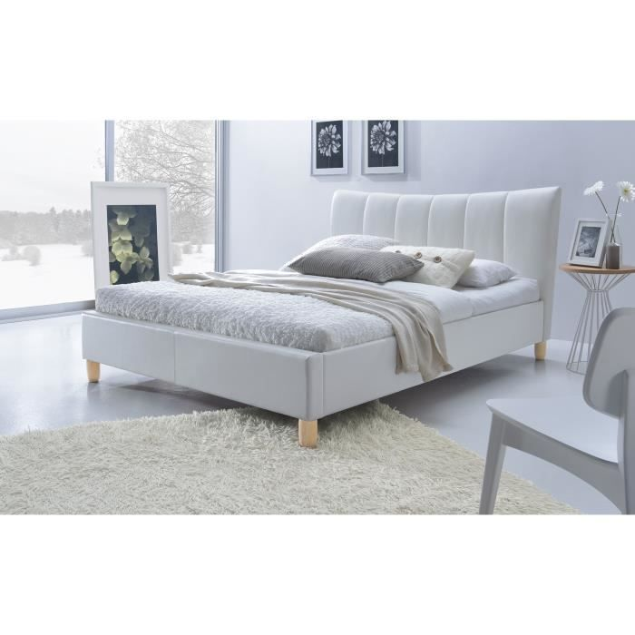 lit adulte design sylvie en simili cuir blanc id al pour votre chambre coucher sommier. Black Bedroom Furniture Sets. Home Design Ideas