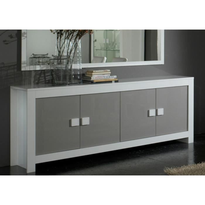 buffet laqu pisi blanc et gris achat vente buffet. Black Bedroom Furniture Sets. Home Design Ideas