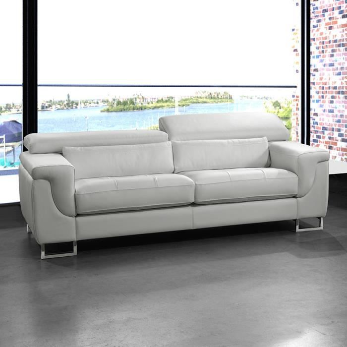 canap cuir 3 places fixe jerome 3 blanc achat vente canap sofa divan soldes d t. Black Bedroom Furniture Sets. Home Design Ideas