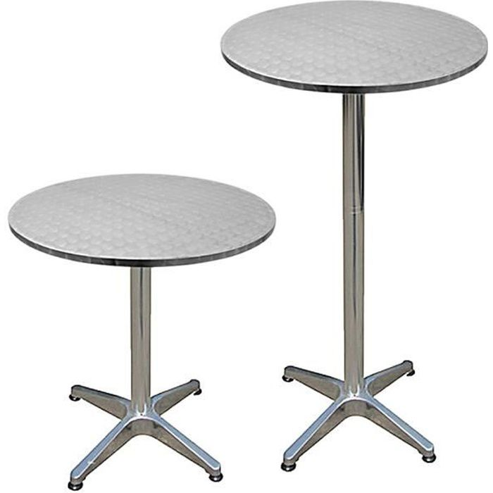 Table De Bar Table Haute Bistrot Aluminium Reglable En