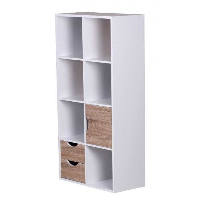 biblioth que avec tiroirs et porte coloris blanc achat vente biblioth que biblioth que avec. Black Bedroom Furniture Sets. Home Design Ideas