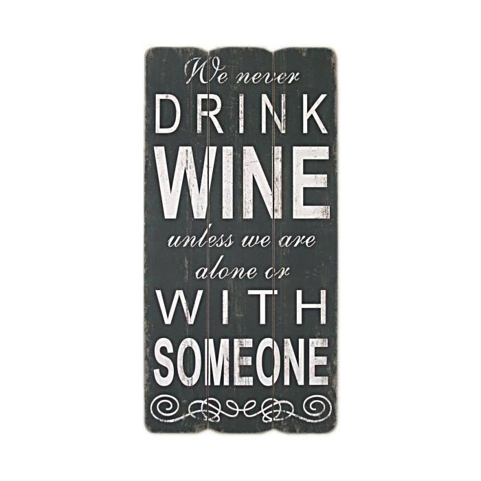 panneau bois neuf noir blanc deco murale 30x60 drink wine style loft industriel achat vente. Black Bedroom Furniture Sets. Home Design Ideas