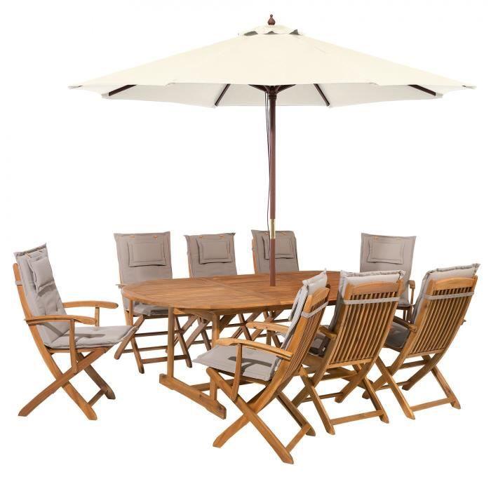 Salon de jardin avec parasol et coussin beige et gris Maui ...