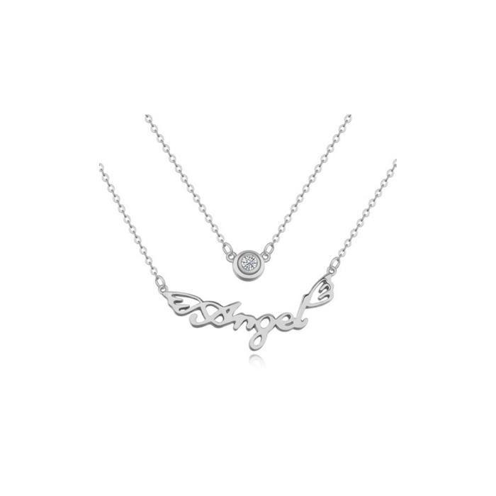 SAUTOIR ET COLLIER Collier Angel Cristal Cubic Zirconia Blanc et Plaq