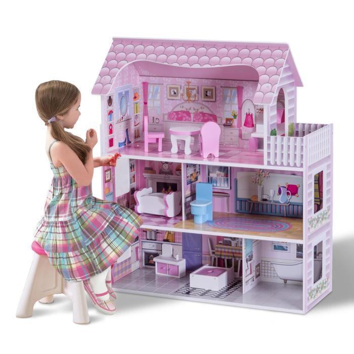 Large en Bois Maison De Poupées Miniature Enfants Filles Dollhouse Jouet Cadeau Rose jeu de rôle