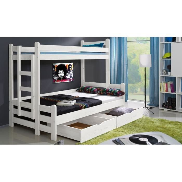 lit superpose timeo en bois blanc non sans matelas achat. Black Bedroom Furniture Sets. Home Design Ideas
