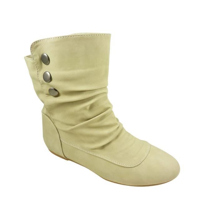 bottines boots femme plates clou beige beige achat vente bottine cdiscount. Black Bedroom Furniture Sets. Home Design Ideas