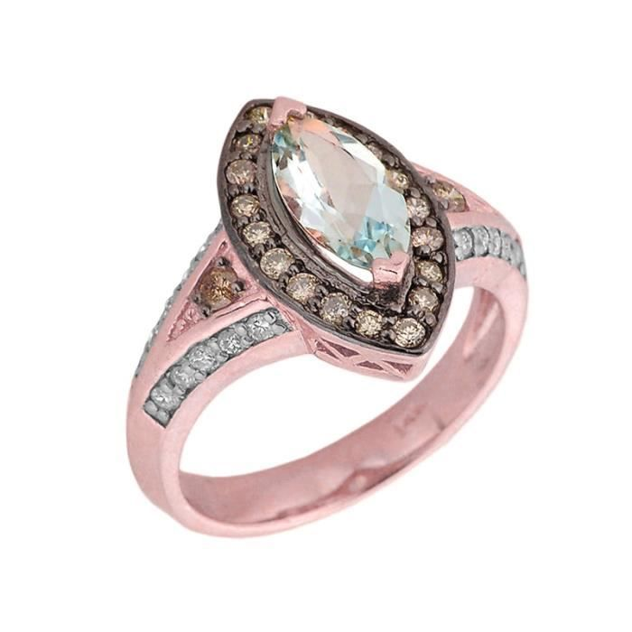 Bague Femme 14 ct Or rose 585/1000 Aquamarine etDiamant