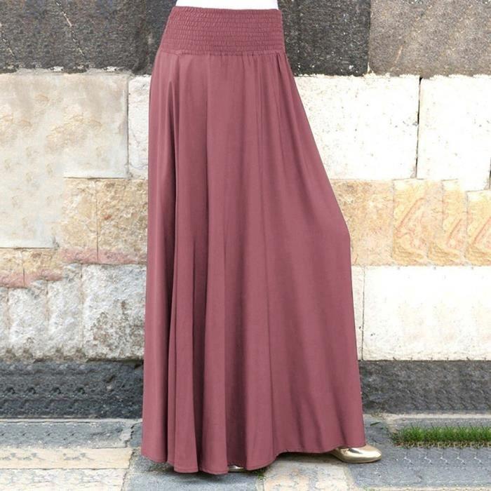 JUPE Femmes Mode taille élastique solide Jupe plissée V