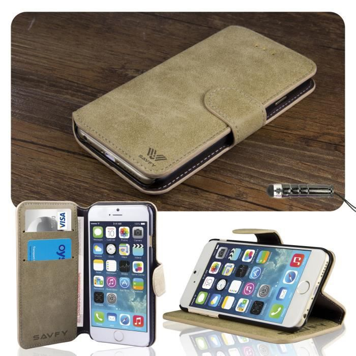 Coque iphone 6 plus 5 5 portefeuille rabat cuir achat for Coque iphone 6 portefeuille