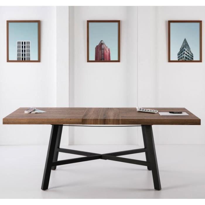 TABLE À MANGER SEULE Table de repas Chêne à allonge et pieds Noirs - AT
